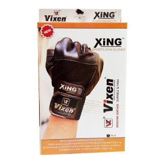 Vixen Leather Gloves,  Black  Ajustable