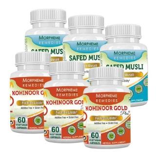 Morpheme Remedies Kohinoor Gold Plus & Safed Musli (Pack of 6),  60 capsules