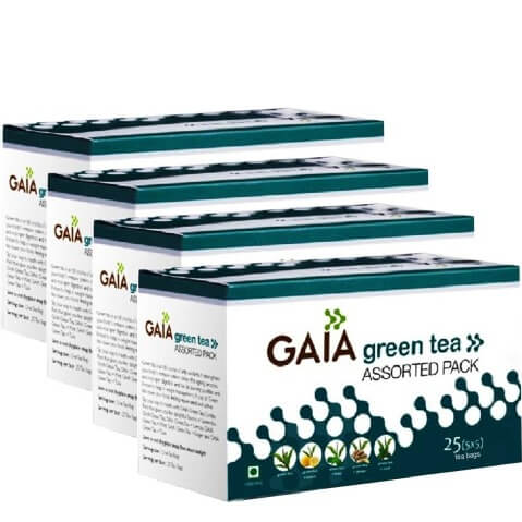 GAIA Green Tea Assorted (Pack of 4),  Unflavoured  25 Piece(s)/Pack
