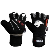 KOBO Weight Lifting Fitness Gym Gloves,  Black & Grey  Small