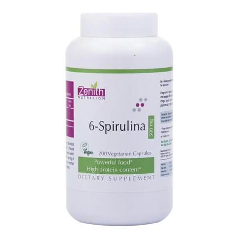 Zenith Nutrition 6 spirulina (500mg),  200 capsules