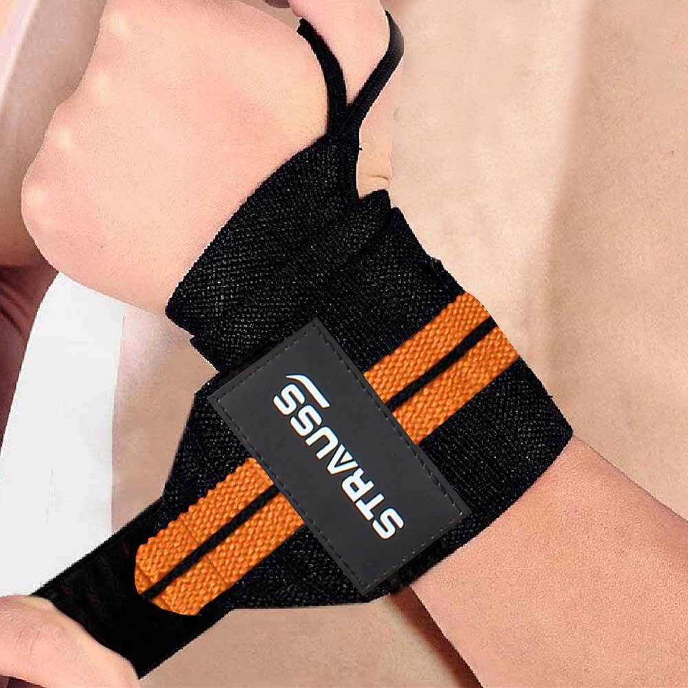 Strauss WL Cotton Wrist Support (Pack of 2),  Black & Orange  Free Size