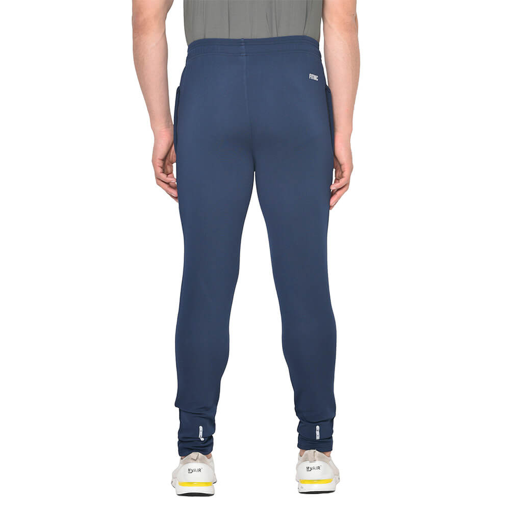 4 - Fitinc Dobby Solid Track Pants,  Navy Blue  XL