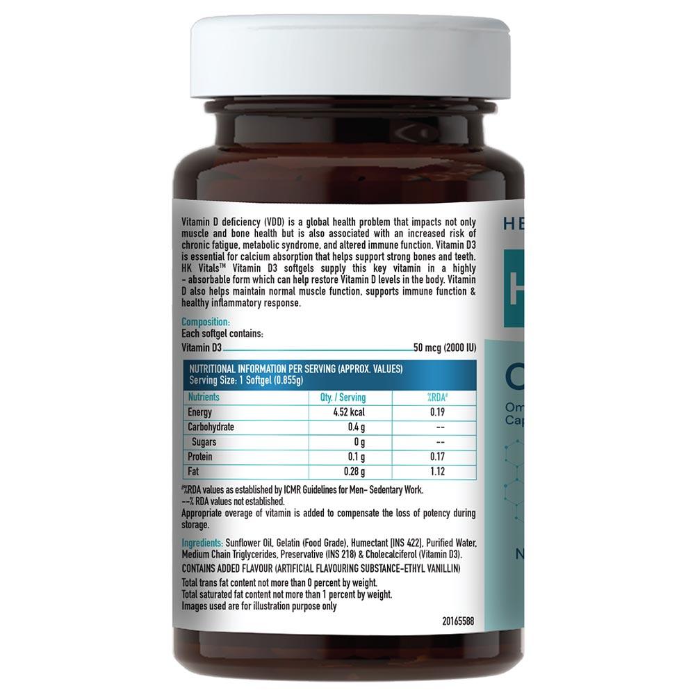 nutritioninfo - HealthKart Vitamin D3 (2000 IU),  90 softgels