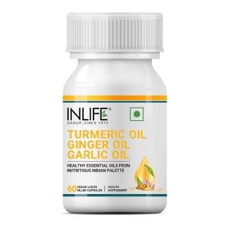 1 - INLIFE Turmeric Oil Ginger Oil Garlic Oil,  60 veggie capsule(s)