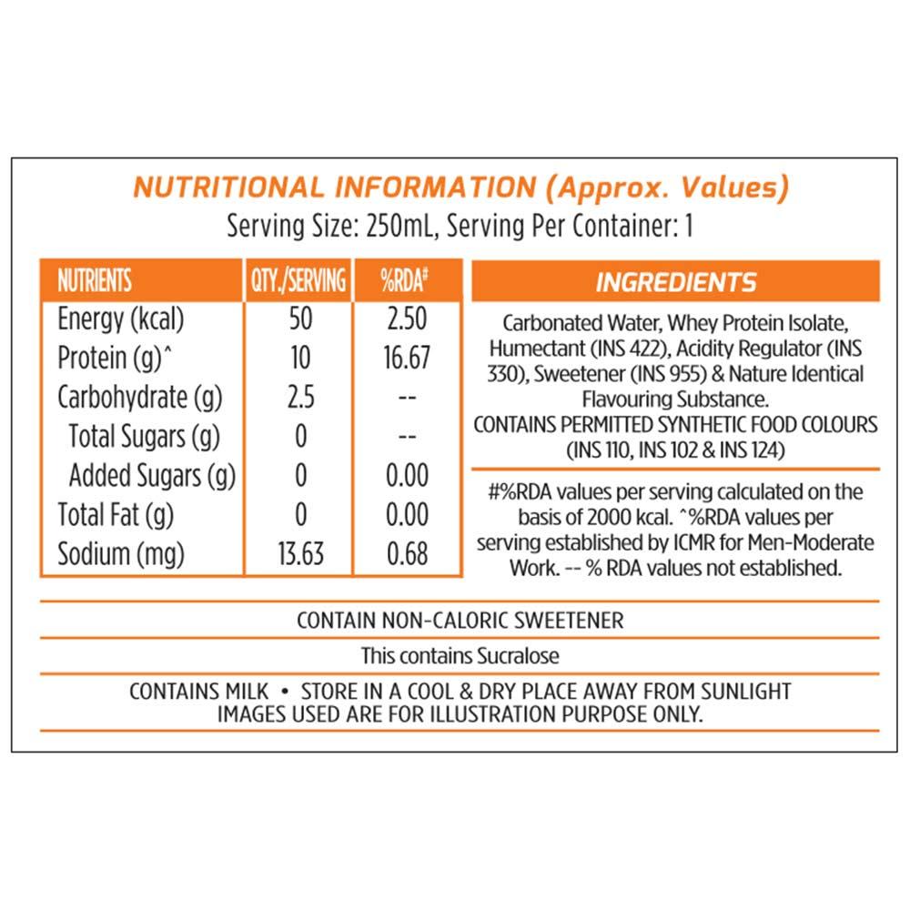 nutriton - MuscleBlaze Sparkling Protein Water (10g Protein),  6 Piece(s)/Pack  Orange