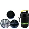 KOBO Shaker Sipper Blender Bottle (2903),  Black  400 ml