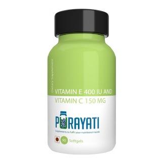 Purayati Vitamin E 400 IU with Vitamin C 150 mg,  90 softgels