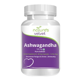 Natures Velvet Ashwagandha Pure Extract (500 mg),  60 capsules
