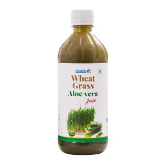 Healthvit Wheat Grass Aloe Vera Juice,  Natural  0.5 L