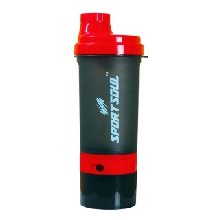 2 - SportSoul Protein Shaker Bottle with Storage Compartment,  Red & Black  600 ml