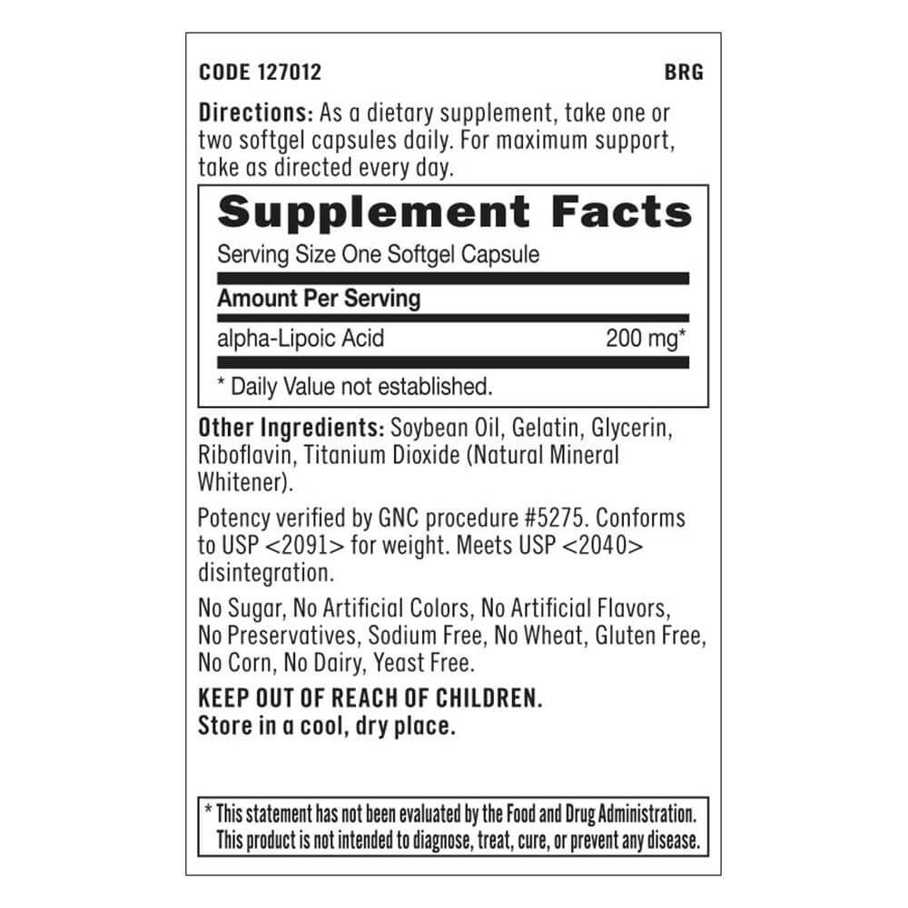 GNC Alpha Lipoic Acid (200mg), 60 softgels